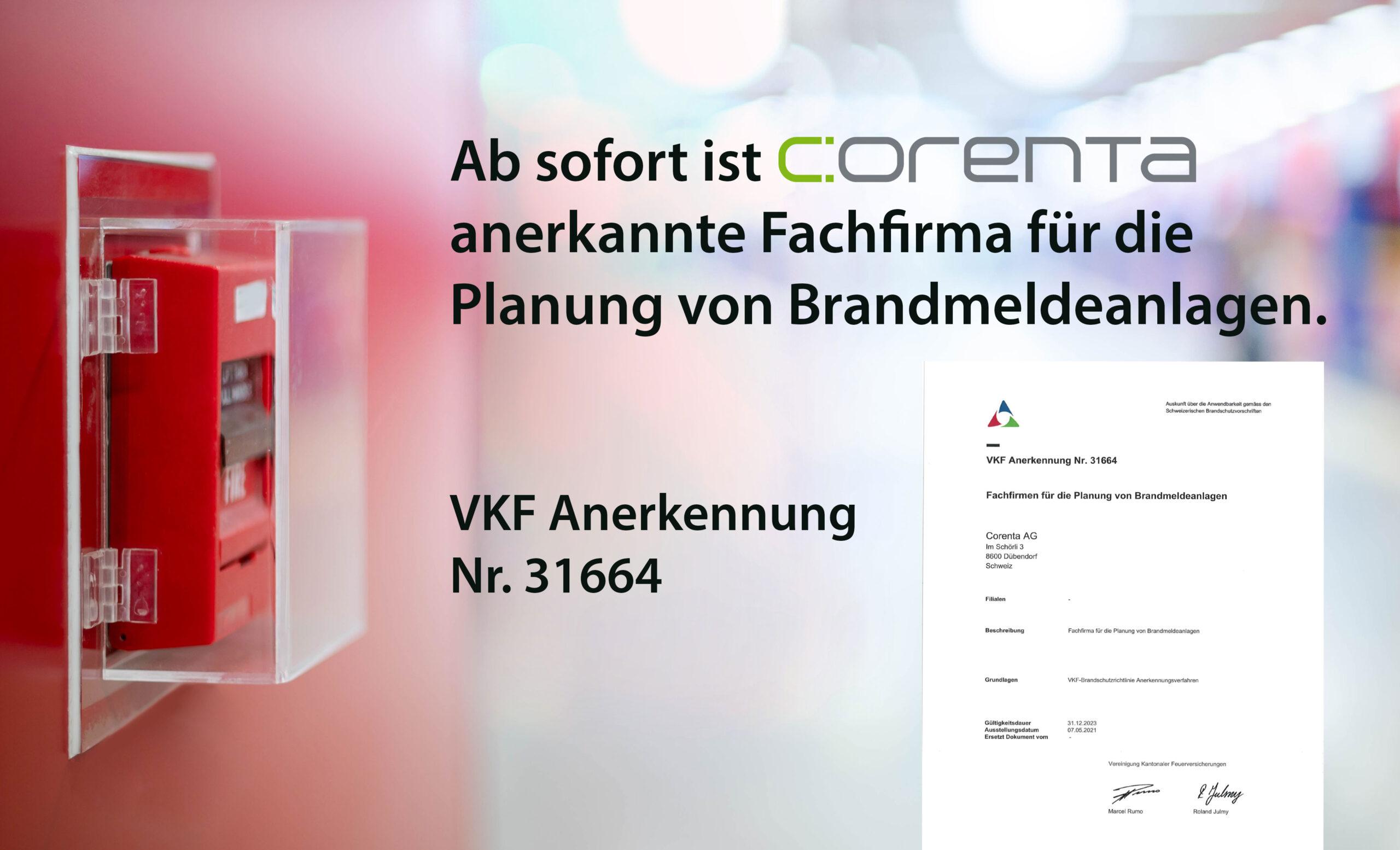 Anerkannt und bei der VKF registriert